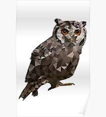 Low-Poly Owl Side-View Poster