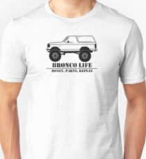 1992-1996 Bronco Money, Parts, Repeat Black Print Slim Fit T-Shirt