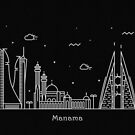 Manama Skyline Minimal Line Art Poster by A Deniz Akerman
