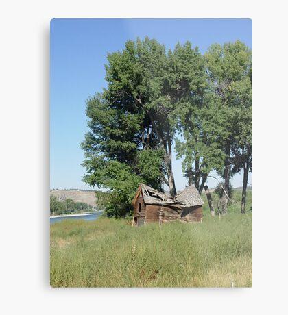 Barn in the Cottonwoods Metal Print