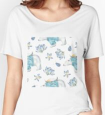 Cute Whimsical Watercolor Polar Bear & Penguin Arctic Winter Wonderland Women's Relaxed Fit T-Shirt