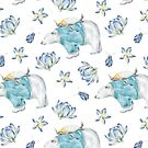 Cute Whimsical Watercolor Polar Bear & Penguin Arctic Winter Wonderland by Patterns Galore