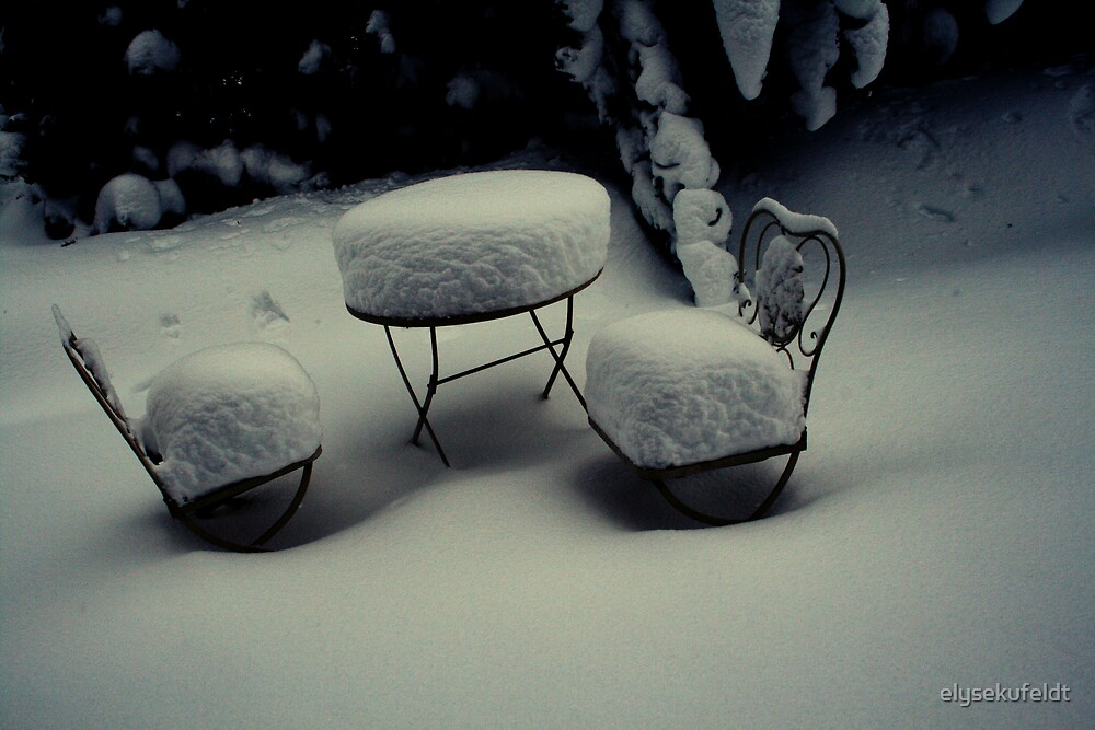 Snow Covered Chairs by elysekufeldt