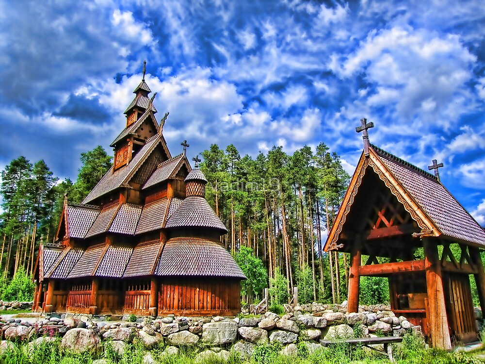 Gol stave church, Hallingdal, Norway by vadim19
