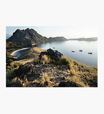 High view of Padar Island with boats in Flores, Indonesia. Photographic Print