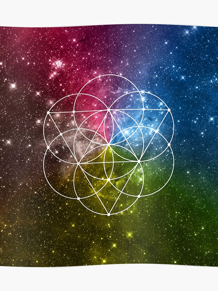 bec166803e077 Seed of Life with Triangles - Sacred Geometry - Rainbow Colors - Galaxy Art  - Universe
