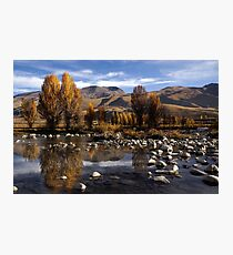 Autumn trees in the valley beside streaming river, China. Photographic Print