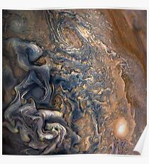 Swirling Clouds of Planet Jupiter Close Up from Juno Cam Poster