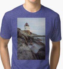 Castle Hill Lighthouse at Sunset Tri-blend T-Shirt