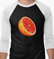 Grapefruit Pattern - Black Men's Baseball ¾ T-Shirt
