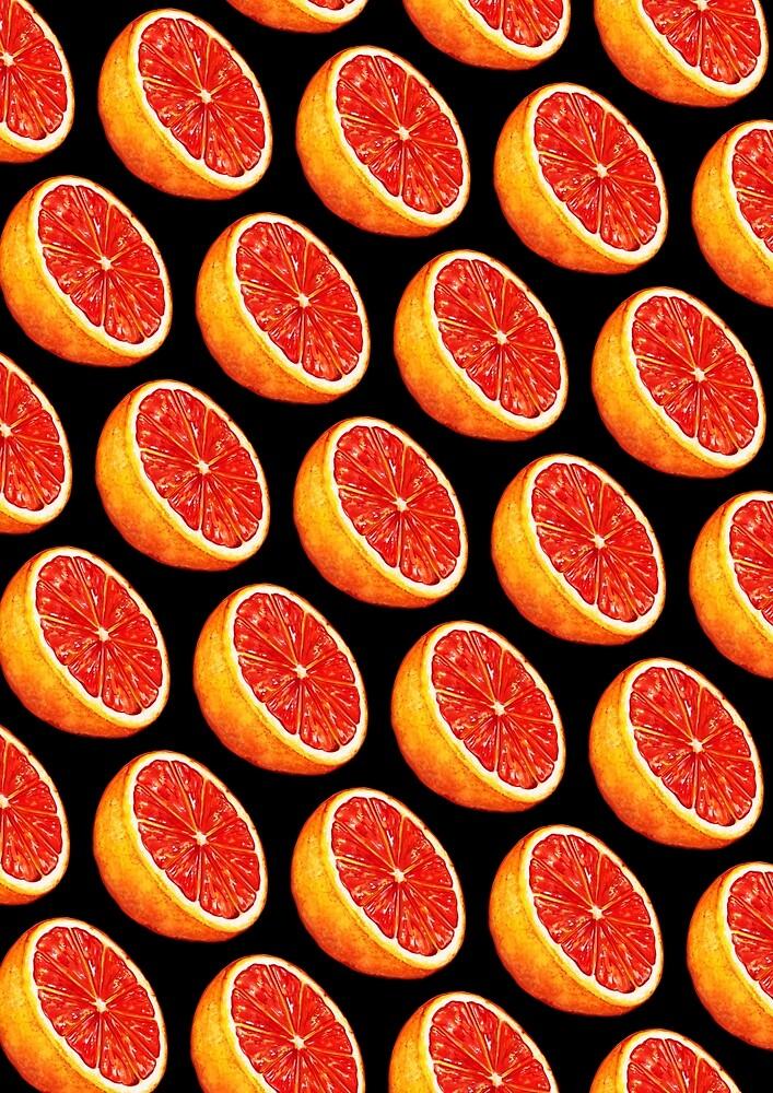 Grapefruit Pattern - Black by Kelly  Gilleran