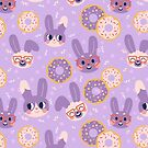Purple Bunnies and Donuts by Claire Stamper