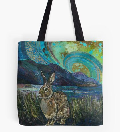 Crouching Hare Embroidery - Textile Art Tote Bag