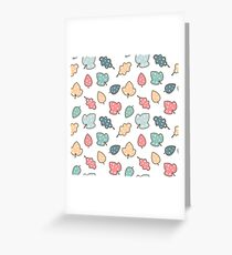 cute colorful leaves with dots pattern background illustration Greeting Card