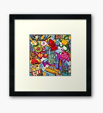 Crazy New York colored pattern Framed Print
