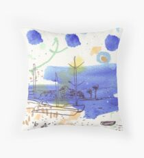 Two Kayaks on the Bay Throw Pillow