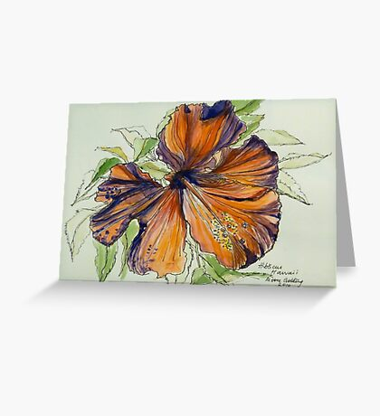 Red hibiscus Hawaii: pen and wash. Greeting Card