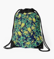 Golden Wattle - Navy Drawstring Bag