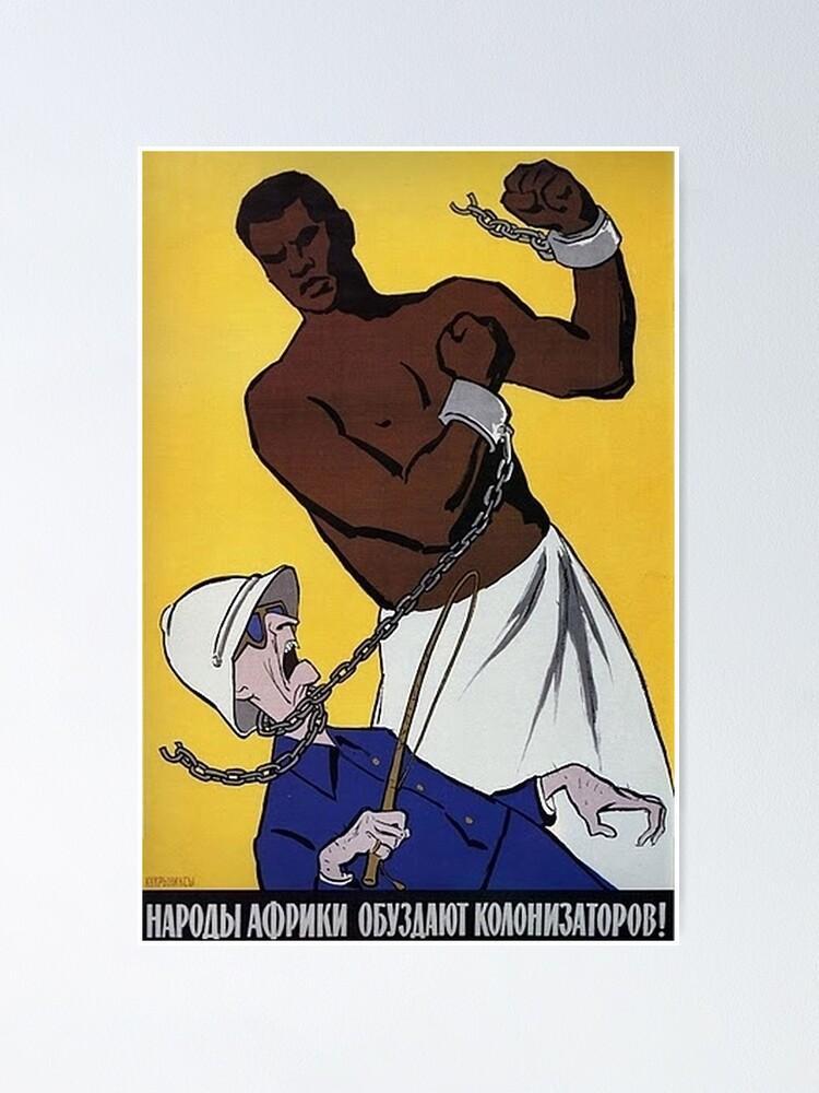 """Poster ''Affiche anti-coloniale soviétique - """"Les Africains réprimeront les colonisateurs!"""" (1950-1960s)': autre vue"""