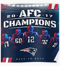 New England Patriots | 2017 AFC Champions Back To Back | Super Bowl 52 Poster