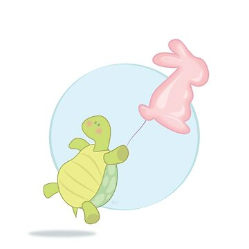 A Turtle with a Baloon (White Background) by AmisWormhole