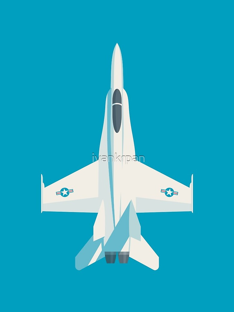 F/A-18 Hornet Jet Fighter Aircraft - Cyan by ivankrpan