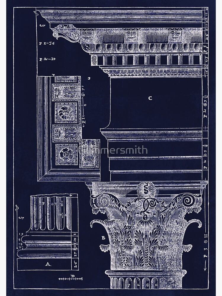 Architekturplan-Planabbildung des alten korinthischen Kapitals von Glimmersmith
