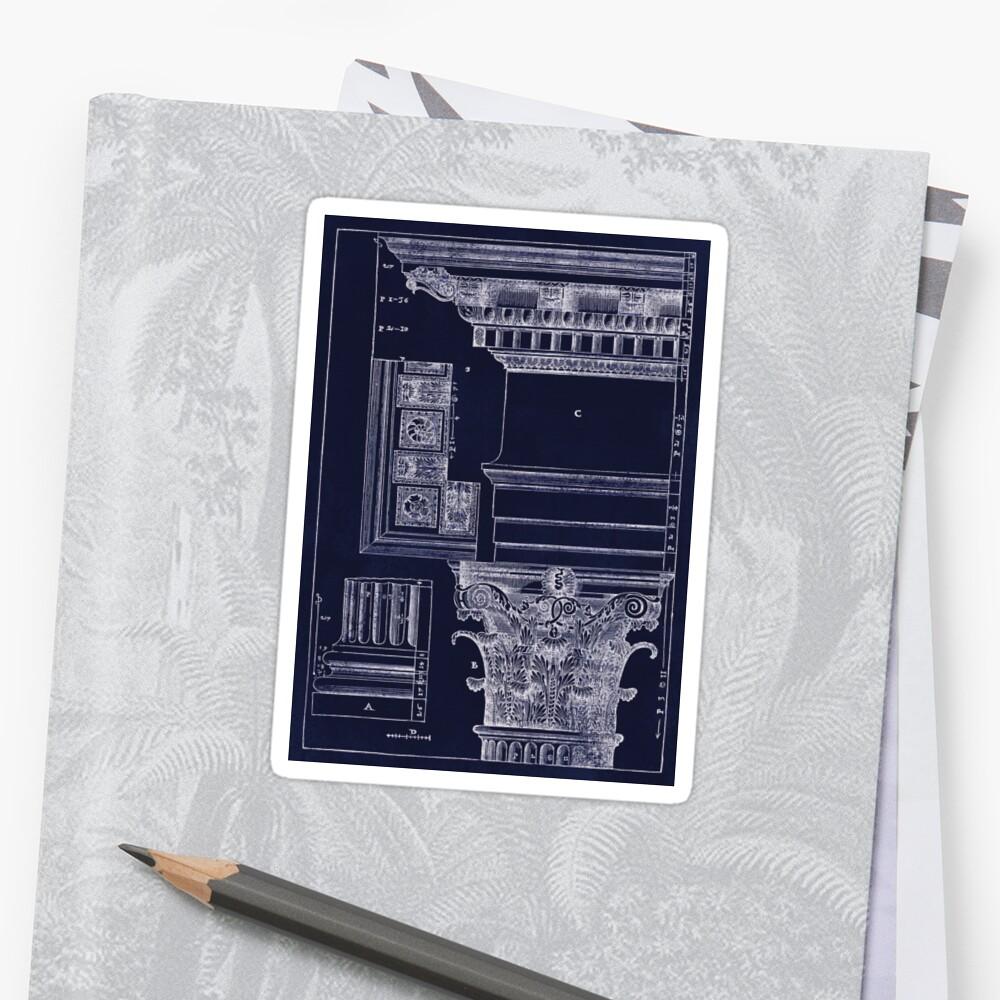 Architekturplan-Planabbildung des alten korinthischen Kapitals Sticker