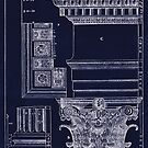 Ancient Corinthian Capital architectural plan blueprint drawing by Glimmersmith