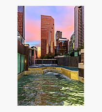 Modern, luxury city with skyscrapers in gold time with light reflection in the windows and in the water-pool Photographic Print