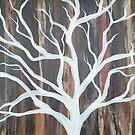 Wood Grain, Pure White Tree by Melissa Fryer