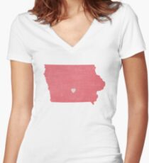 Iowa Love in Coral Women's Fitted V-Neck T-Shirt