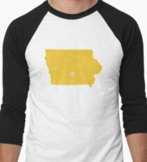 Iowa Love in Yellow Men's Baseball ¾ T-Shirt