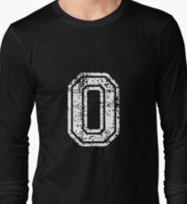 #0 Number Zero Sports Team T-Shirt White Text Long Sleeve T-Shirt