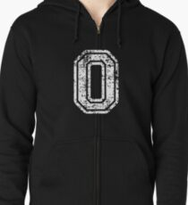 #0 Number Zero Sports Team T-Shirt White Text Zipped Hoodie