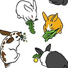 Four Bunnies Snacking on White and Dusty Teal by Brandy Sinclair