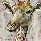 Painted Giraffe portrait by Julie Mayo