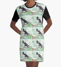Domino, the Pied Crow (Corvus albus) Graphic T-Shirt Dress