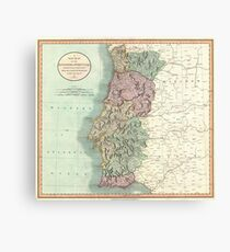 Antique Maps - Old Cartographic maps - Antique Map of Portugal by John Cary, 1801 Canvas Print