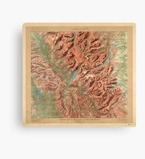 Antique Maps - Old Cartographic maps - Relief Map of Glacier National Park, Montana Canvas Print