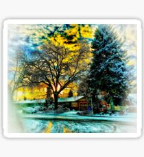 Snowy Winter Sunset Christmas Card Look Sticker