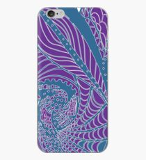 Purple and green graphic line art iPhone Case