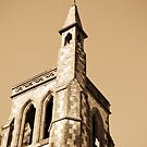Sepia Church Steeple by thewaterfallhunter