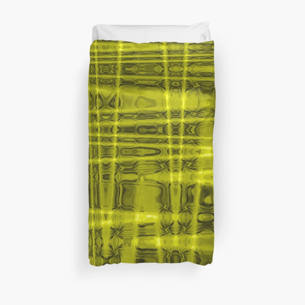 QUANTUM FIELDS ABSTRACT [1] YELLOW [1]  Duvet Cover