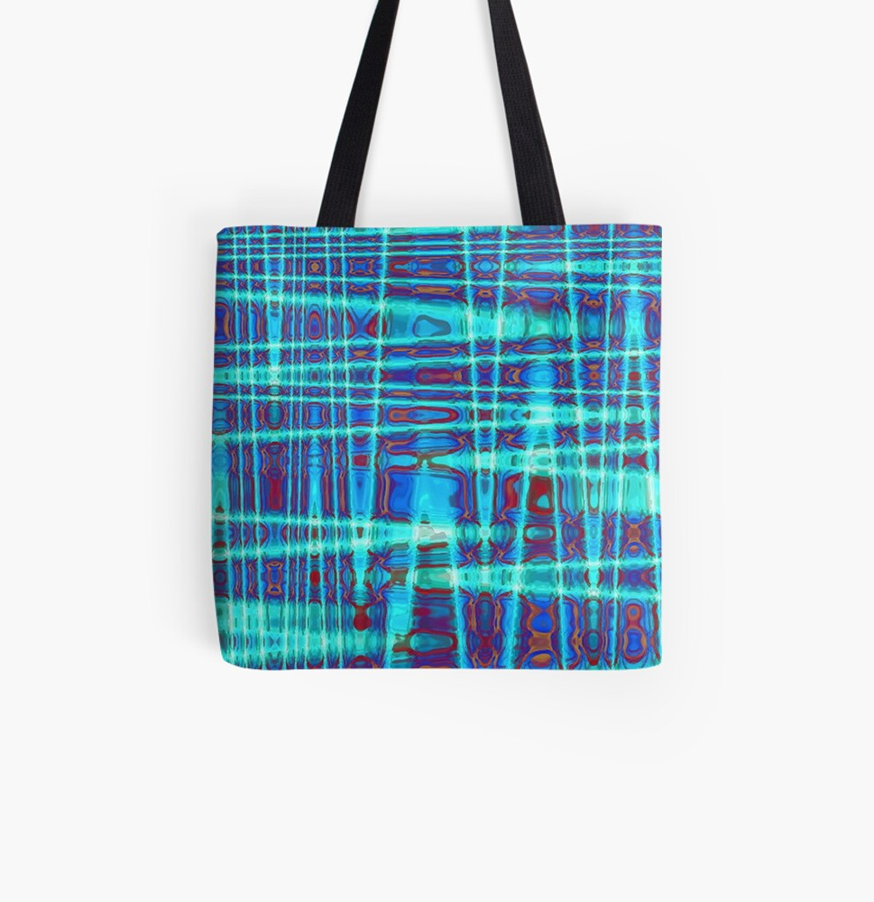 QUANTUM FIELDS ABSTRACT [1] INDIGO [2] All Over Print Tote Bag