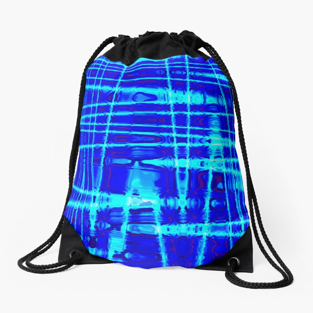 QUANTUM FIELDS ABSTRACT [1] BLUE [2] Drawstring Bag