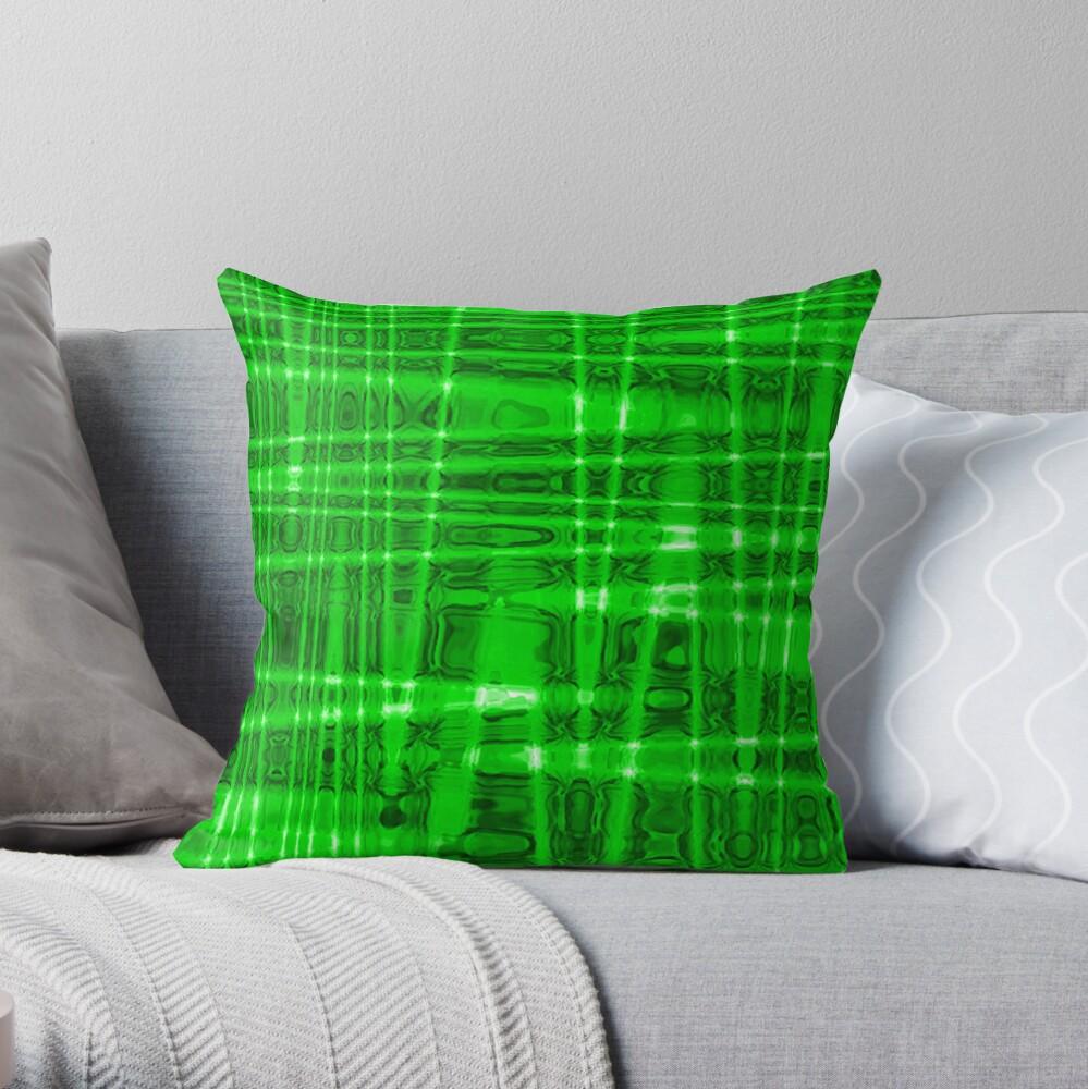 QUANTUM FIELDS ABSTRACT [1] GREEN [2] Throw Pillow