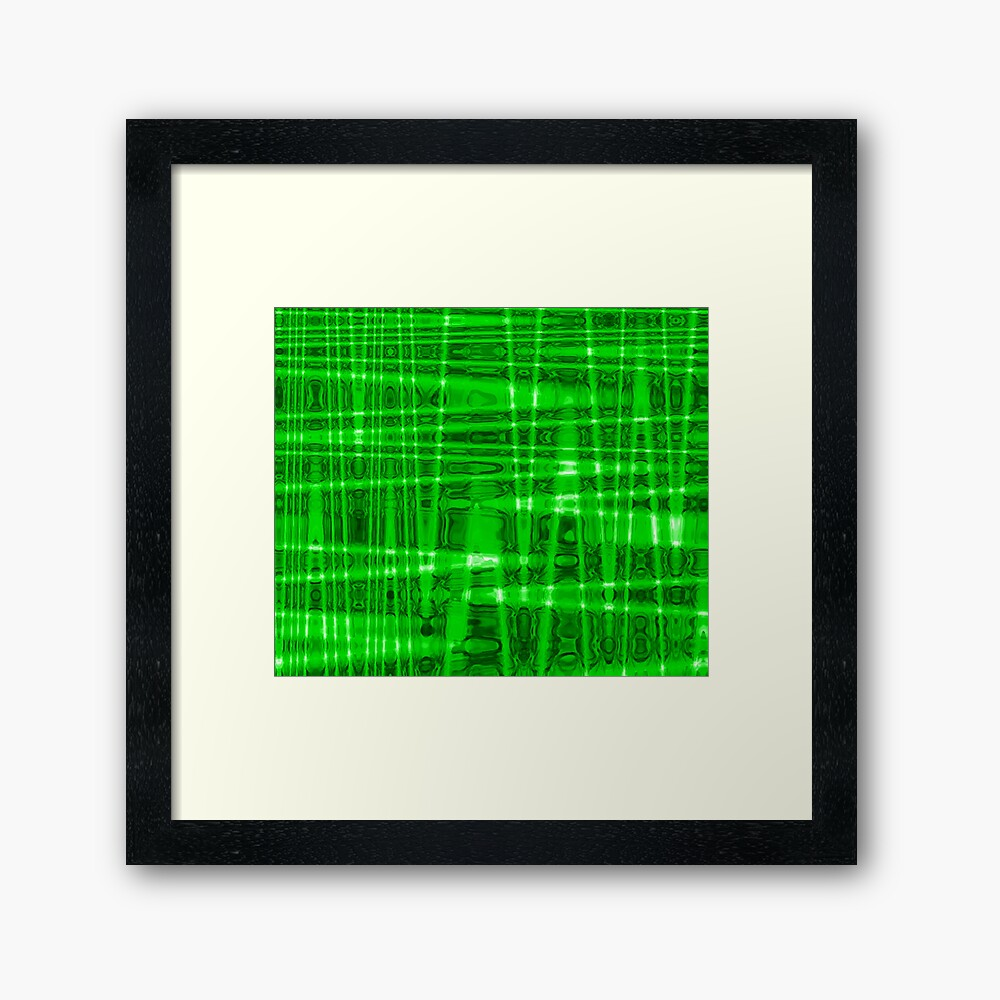 QUANTUM FIELDS ABSTRACT [1] GREEN [2] Framed Art Print