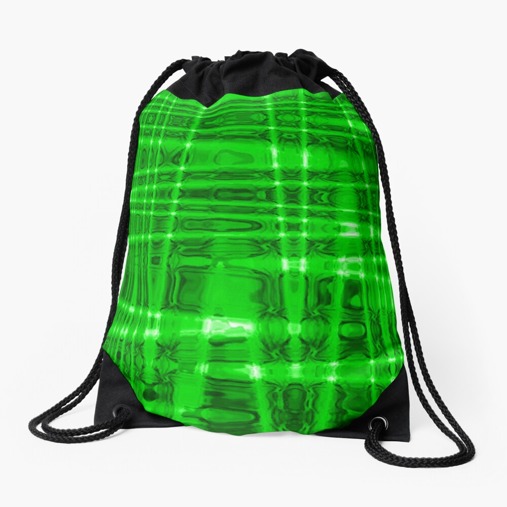 QUANTUM FIELDS ABSTRACT [1] GREEN [2] Drawstring Bag
