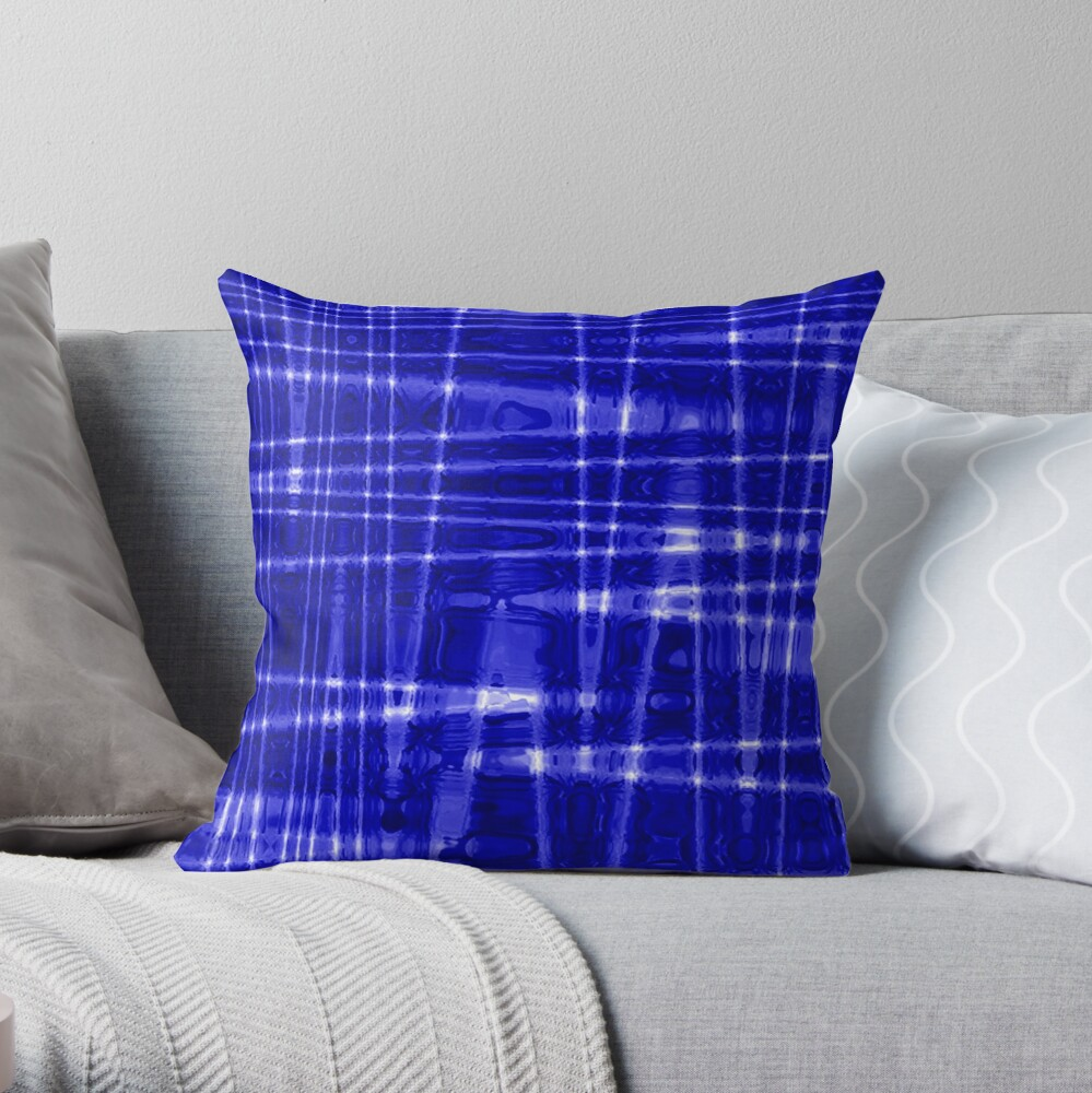 QUANTUM FIELDS ABSTRACT [1] BLUE [1] Throw Pillow